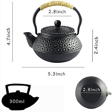 HwaGui Mini Tetera de Hierro Fundido con Infusor Pequeñas Clasica Teteras 0,3 Litros/300ml, Negro