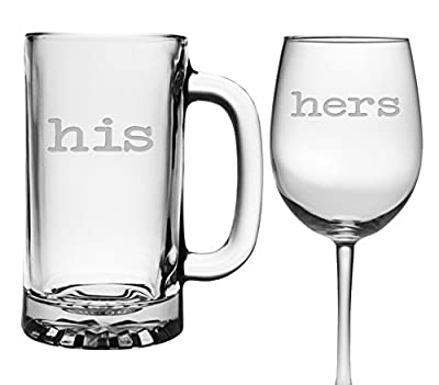 His and Hers Custom Etched Wine and Beer Glasses