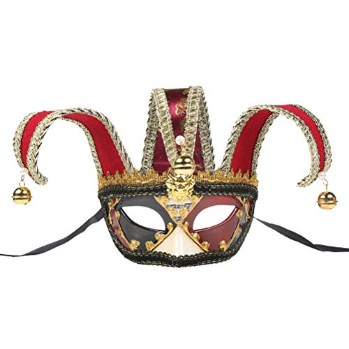 (BESTOYARD Venetian Style Party Half Face Mask Carnival Costume Mask Christmas Masquerade Fancy Ball Dress Up Mask (Red,)