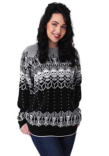 Halloween Skeleton Sweater (Adult Unisex Black and White Skeleton Halloween Sweater)