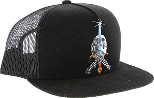 Powell Skull & Sword Trucker Mesh Hat Adjustable Black Black Skate (Amp Mesh Hat)