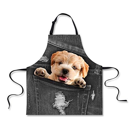 HUGS IDEA Pocket Puppy Denim Pattern Vintage Aprons Adult Women Men Kitchen Bib Cooking Apron with Adjustable Neck