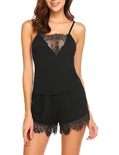 ADOME Womens Camisole Sleeveless PJ Set Soft Sleepwear Cami Shorts Set S-XXL