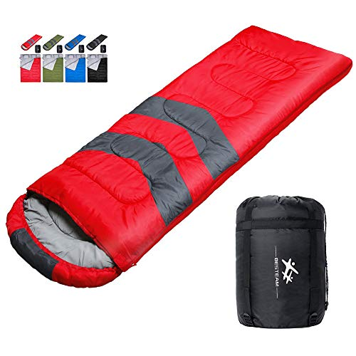 BESTEAM Sleeping Bag, Cool Cold Weather for Backpacking, Hiking, Family Camping. Queen Size XL Lightweight, Waterproof Sleeping Bags for Adults, Teens, Truck, Tent, Sleeping Pad