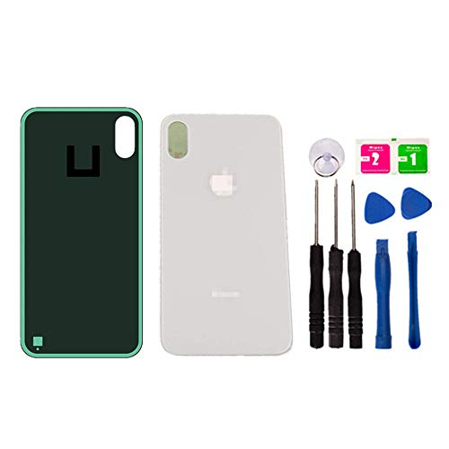 Original - Replacement Rear Housing Battery Back Door Glass Cover for iPhone Xs Max 6.5 inch, Panel Case with Adhesive Preinstalled Repair Part Casing (White)