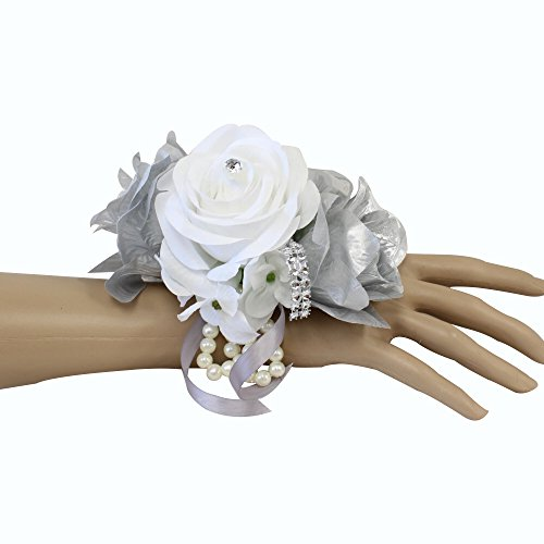 Angel Isabella Wrist Corsage-Keepsake Artificial Roses Hydrangea Large Wrist Flower Flower Prom Dance Graduation Events (Metallic Silver White)