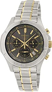 Seiko Chronograph Black Dial Stainless Steel Mens Watch SSB109