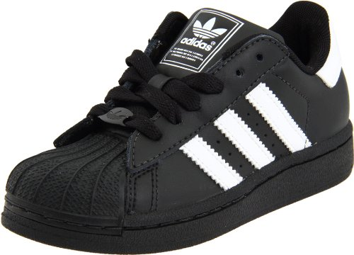 adidas Originals Superstar 2 Sneaker (Little Kid/Big Kid),Black/White/White,10.5 M US Little Kid