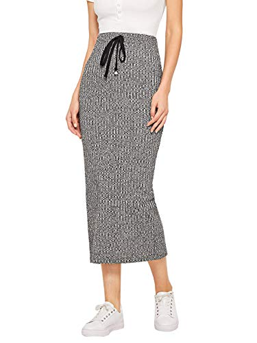 WDIRARA Women's Casual Drawstring Waist Split Back Solid Maxi Skirt Grey M