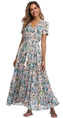 (VintageClothing Women's Floral Print Maxi Dresses Boho Button Up Split Beach Party Dress, XL)