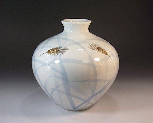 有田焼伊万里焼の陶器花瓶金彩稲穂|贈答品|ギフト|記念品|贈り物|陶芸家 藤井錦彩 B00LIEAMJQ