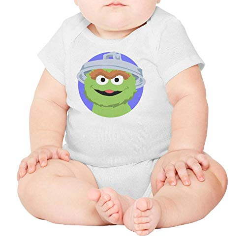 Sesame Street Head Oscar (Baby Boys Nursling Short Sleeve White Oscar-The-Grouch-Trash-Head-face-Cozy Organic Cotton Onesies)