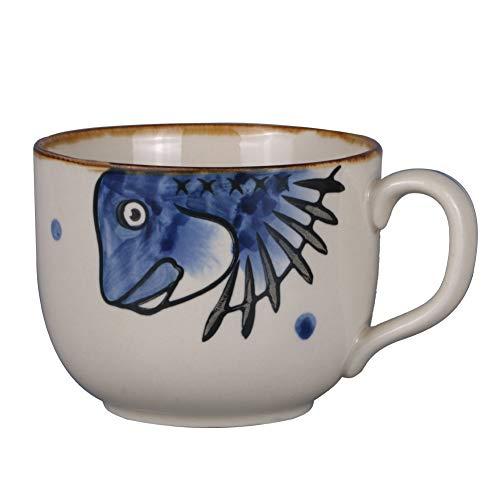 Asmwo Large Fish Soup Bowl Mug Unique Elegant Japanese Ceramic Coffee Mugs Tea Cup for Women 14 oz