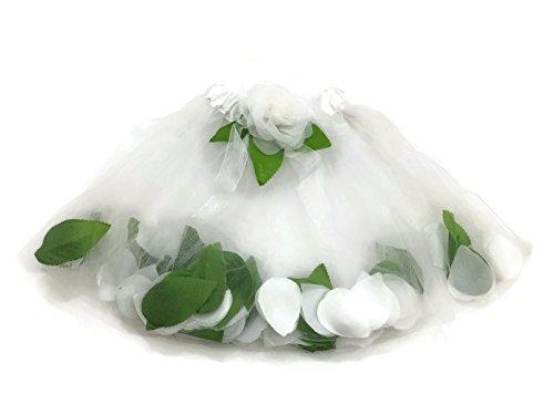 Flowery Dress Halloween Costume (Rush Dance Flowers Green Petals Ballerina Girls Ballet Costume Recital Tutu (Kids (2-6 Years Old), White))