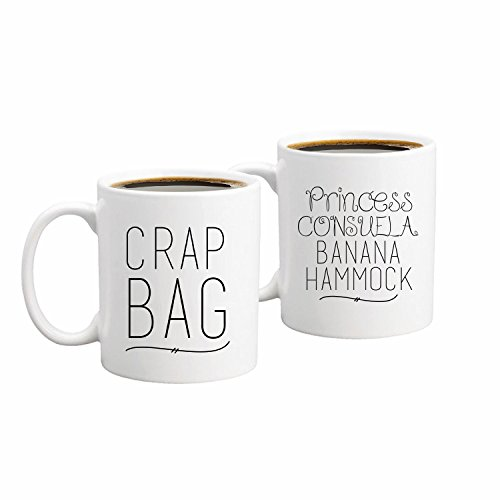 Princess Consuela Banana Hammock & Crap Bag Couples Funny Coffee Mug Set 11oz - Friends TV Show Quote - Central Perk - Unique Gift For Boyfriend and Girlfriend - His and Hers Anniversary Present