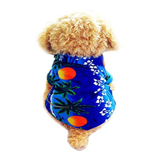 DishyKooker Summer Hawaii Series Printing T-Shirt for Pet Dog Costumes Blue S ()