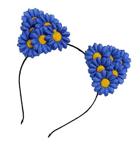 Floral Fall Daisy Floral Rave Cat Ears Festival Girls Cat Costume Headband F-72 (Blue) - Flower Child Costume Rave
