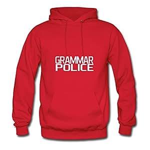 Erinwood X-large Elegent Red Hoodies - Grammar Police Text Block Image,women