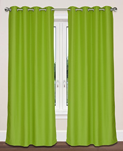 LJ Home Fashions Twilight Room Darkening 100% Privacy Faux Silk Grommet Curtain Panels (Set of 2) 54'' W x 95'' L, Chartreuse Green by LJ Home Fashions