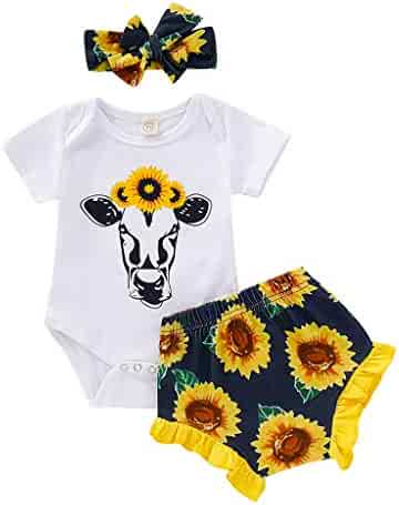 8feabbad Hatoys Baby Toddler Girls Cartoon Printed Romper Sunflowers Floral Shorts Outfits  Set