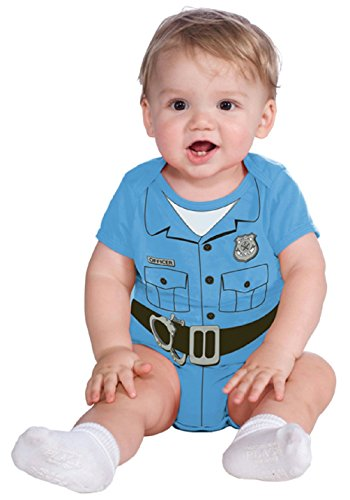 [Baby Police Man Officer Light Blue Onesie Infant Costume 6-12 months] (Police Officer Onesie Costumes)