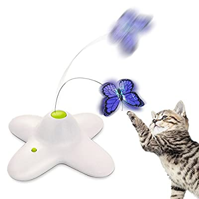 Zenes Funny Cat Teaser Toy Electric Flutter Rotating Butterfly