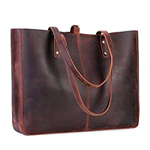 S-ZONE Vintage Genuine Leather Shoulder Bag for Women Tote Purse with Removable Pouch