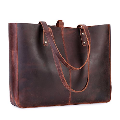S-ZONE Vintage Genuine Leather Shoulder Bag for Women Tote Purse with Removable Pouch (Vintage Deep -