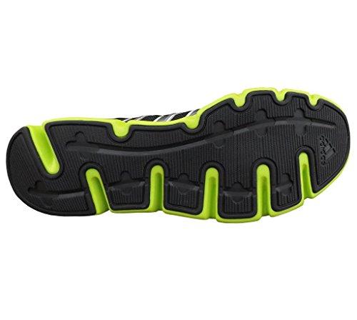 Sneakers Running Adidas Da Uomo In Sintetico E Mesh, Nero / Argento Metallizzato / Verde Lime