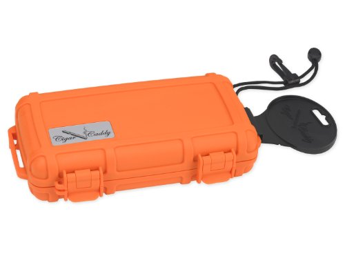 Cigar Caddy 3400-R Blaze 5 Cigar Waterproof Travel Humidor, Blaze Orange Rubberized Exterior