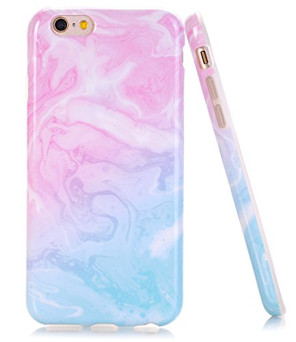 iPhone 6 6s Case, Pink Blue Marble Creative Design, BAISRKE Slim Flexible Soft Silicone Bumper Shockproof Gel TPU Rubber Glossy Skin Cover Case for Apple iPhone 6 6s 4.7 inch