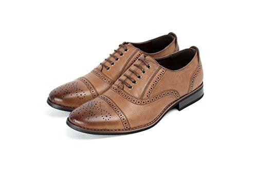 Para Hombre Elegante Formal Casual Con Cordones Piel Sintética Zapatos Oxford Café