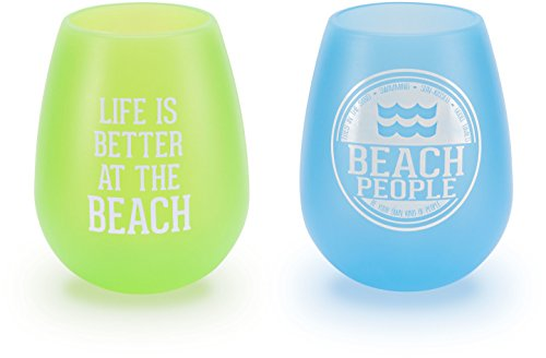 Pavilion Gift Company We People Beach Green and Blue Silicone Wine Glass Set, - Beach Glasses