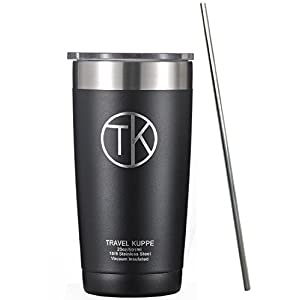 TK 20 oz Tumbler with Straw - Vacuum Insulated Stainless Steel Cup with Sip Lid - Obsidian Black - Double Walled Thermos Water Bottle - Insulated Coffee Mug