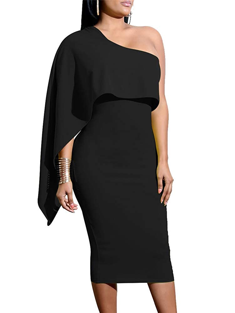 67aa57a52f3 GOBLES Women's Summer Sexy One Shoulder Ruffle Bodycon Midi Cocktail Dress  at Amazon Women's Clothing store: