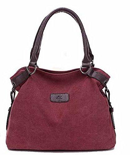 Odomolor Femme Mode Sacs à Bandoulière Toile Zippers Sacs fourretout,ROFBL180720 Rouge Vineux