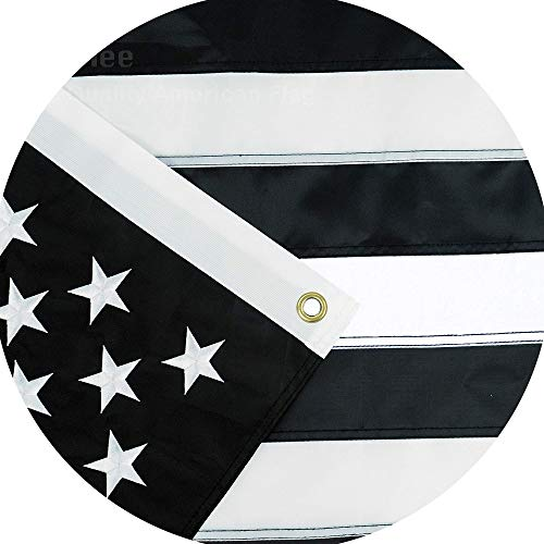 (Jetlifee Black and White American Flag 3x5 Ft by US Veterans Owned Biz. Embroidered Stars, Sewn Stripes and Long Lasting Nylon, Brass Grommets 3 X 5 Foot Black and White Flags)