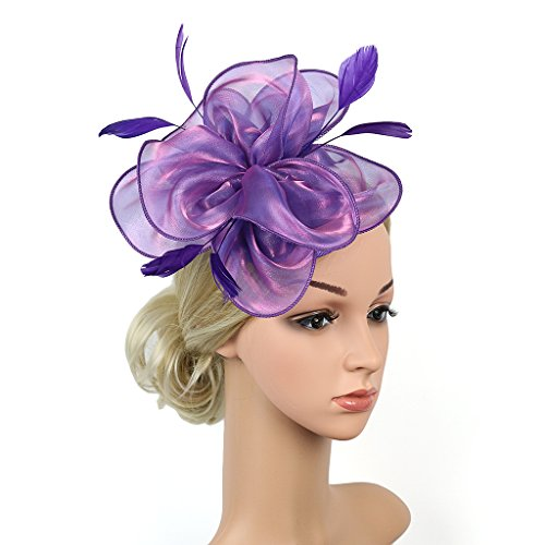 YSJOY Elegant Feather Silk Satin Flower Fascinator Bridal Wedding Hat Derby Hat (Purple) Purple Satin Hat