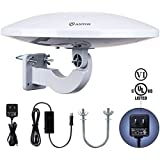 Outdoor HDTV Antenna -Antop Omni-directional 360 Degree Reception Antenna for Outdoor, Attic,RV used, 65 Miles Range with Amplifier Booster and 4G LTE Filter, Waterproof, Anti-UV and Easy Install (PL-