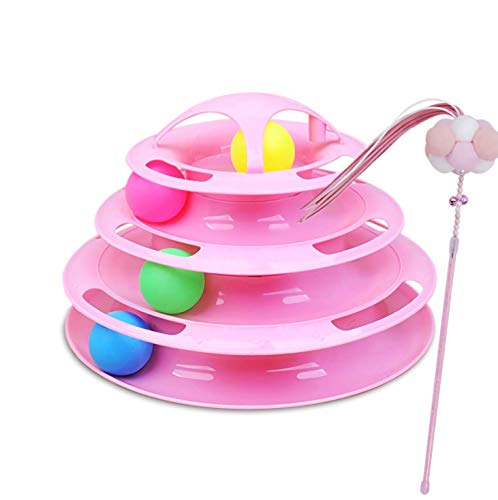 NXqilixiang Cat Toys Tower of Tracks 4 Levels Interactive Cat Ball Toy 2019 New Updated 10 Inch Track Roller for Kitten with Tease Wand Fun Mental Physical Exercise Great for Multiple Cats (Pink) (Best New Turntables 2019)