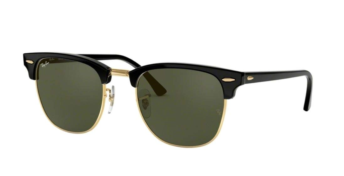 970ea43e432 Ray Ban Clubmaster Classic RB3016 W0365-49-21 Sunglasses Black Frame  Crystal Green Solid Lenses Eyewear