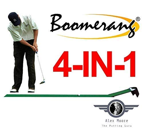 Boomerang Pressure Putting Challenge, Tour Putting Stroke Trainer, Golf Putting Training Aid, Indoor/Outdoor Golf Putting Mat & Kinetic Ball Returner - Pressure Putting Practice Anywhere, Anytime