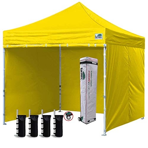 Slant Valance Canopy - Eurmax 10'x10' Ez Pop-up Canopy Tent Commercial Instant Canopies with 4 Removable Zipper End Side Walls and Roller Bag, Bonus 4 SandBags (Yellow)