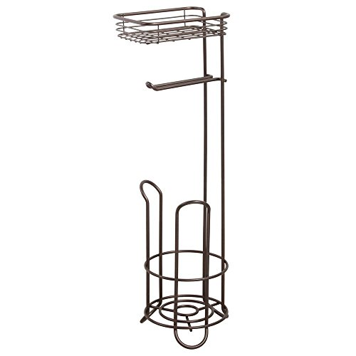 (iDesign Classico Metal Free Standing Toilet Paper Tissue Holder with Shelf, Roll Reserve Canister for Kid's, Guest, Master, Office Bathroom, 6.5