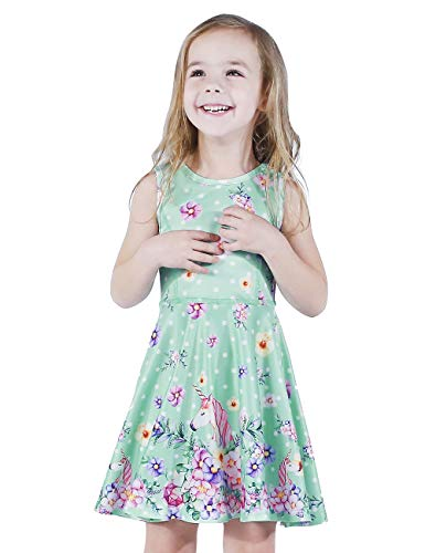 LaBeca Girls Party Casual Unicorn Printed Twirly Sleeveless Dress Flower Unicorn M ()