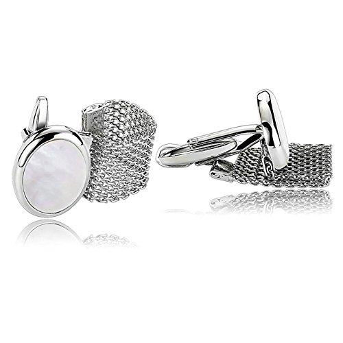 Chain White Cufflinks - Aooaz Jewelry Cufflinks Retro Oval Chain S Shirt Cufflinks Mens White B Stainless Steel Cufflink For Men
