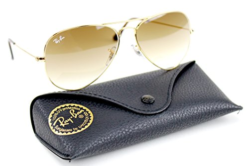 Ray-Ban RB3025 001/51 Unisex Aviator Sunglasses Gradient (Gold Frame / Light Brown Gradient Lens 001/51, - Ray Bans Brown Aviator