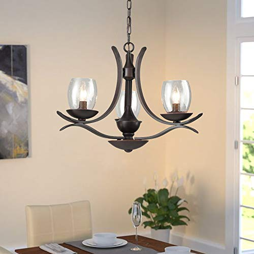 AXILAND Chandeliers for Dining Rooms with Seed Glass Shade 3 Light Farmhouse Chandelier