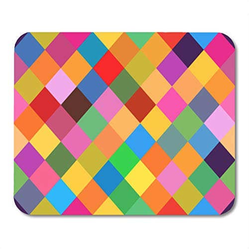 Boszina Mouse Pads Green Geometric Blue Clown Pattern with Rhomboids Colorful Jester Orange Abstract Mouse Pad for notebooks,Desktop Computers mats 9.5