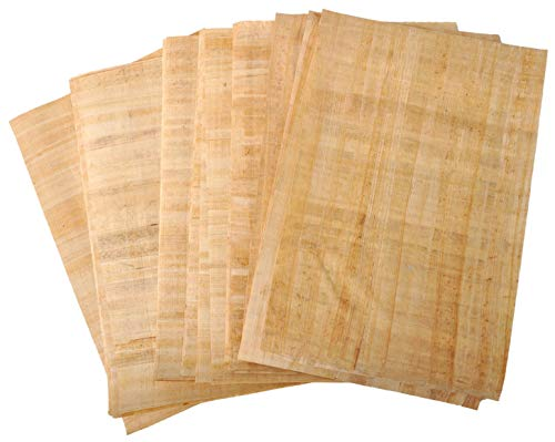 Set 10 Egyptian Blank Papyrus Paper 12x16in (30x40cm) - Ancient Pharaoh Pharaohs Alphabets Papyrus Sheets-Papyri for Art Project, Scrapbooking, and School History Ideal Teaching Aid Scroll Paper -